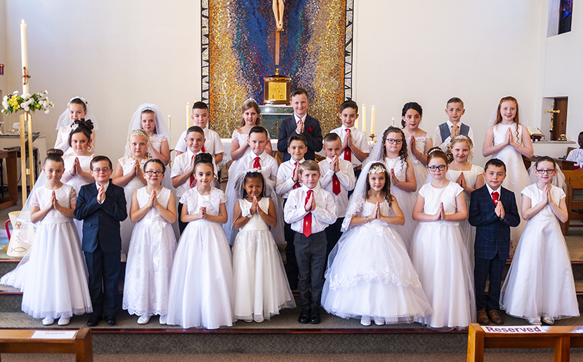The First Holy Communion Group who received the Eucharist for the first time on Sunday, May 12th