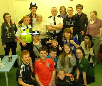 PC Hutchinson and PCSO Sewell with youth club members