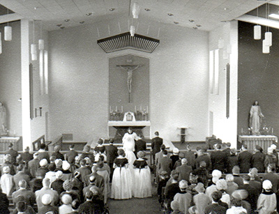 The first wedding at St. Andrew's Church Teesville.