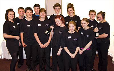 Young people from the youth club serving