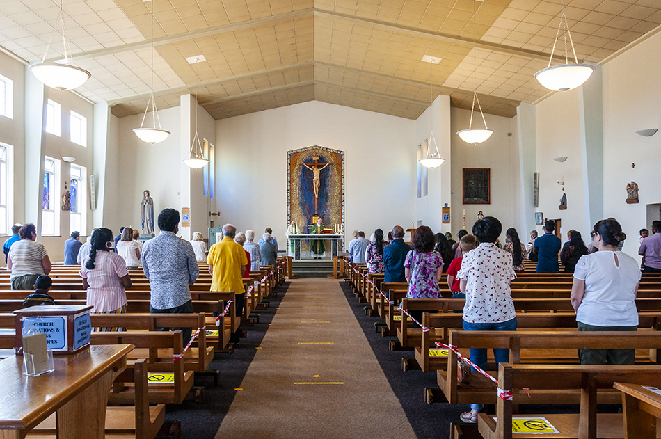 A socially distanced Mass in St. Andrew's Church
