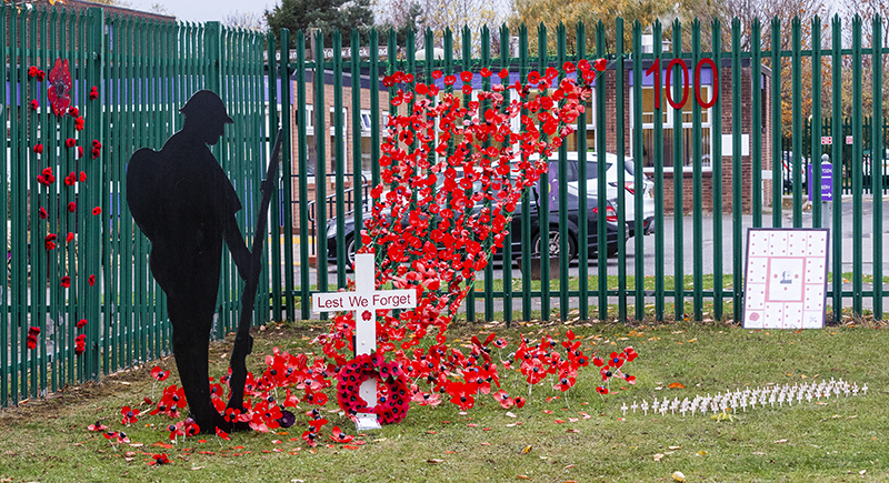 The poppy display at St. Margaret Clitherow's School